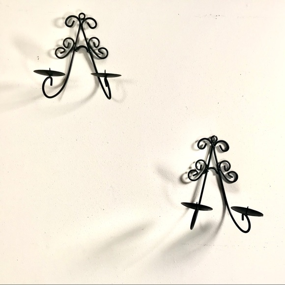 Vintage Black Iron Wall Candle Holders